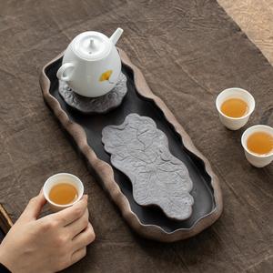 粗陶干泡台茶盘禅意简易陶瓷家用壶