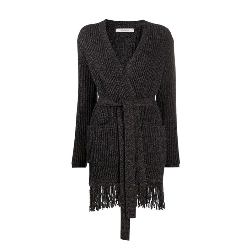 正品MaxMara/麦丝玛拉女装羊毛外套女SECOLO中长款系带针织开衫