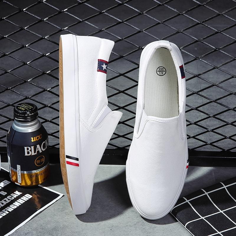 韩国装鞋青少年板鞋简单没。夏日帆布鞋无鞋带男鞋带懒汉鞋男土布