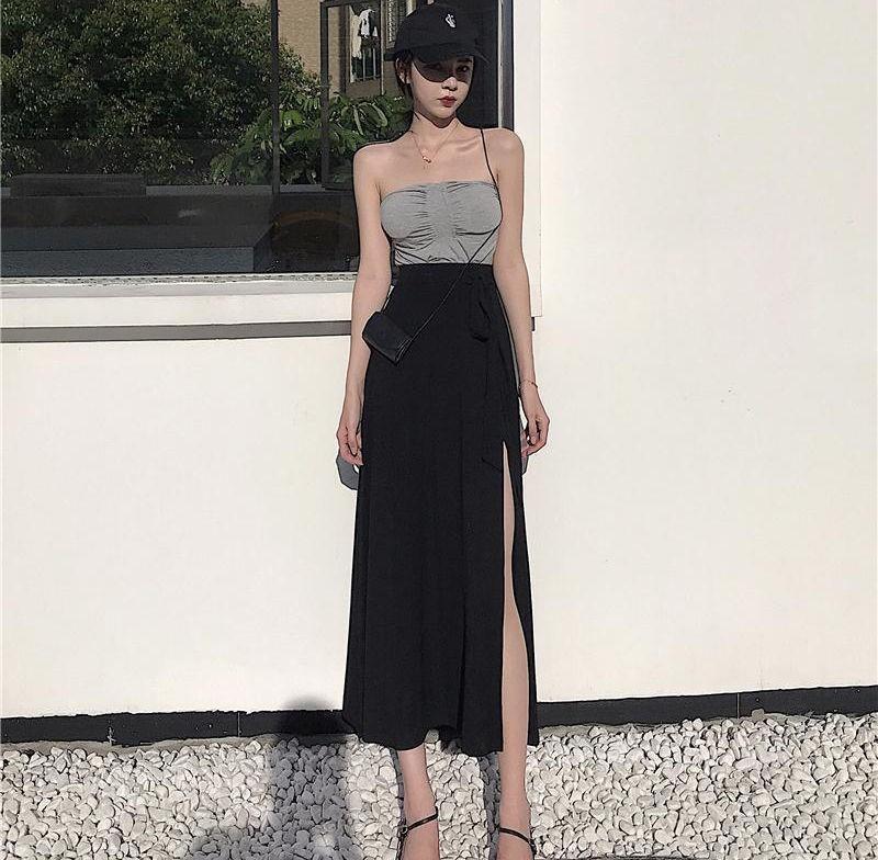 开衩半裙侧开中长款小黑裙开叉高腰半身裙子过膝长裙垂感长裙腿遮