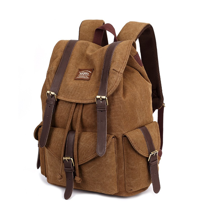 New logo factory canvas fashion backpack for men and women outdoor leisure backpack student bag Guangzhou handbag