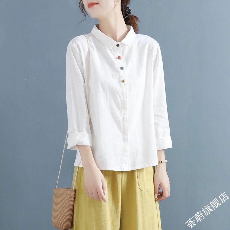 棉麻春季盘扣复古中国风翻领纯色长袖衬衫女文艺衬衣打底内搭上衣