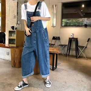 胖mm牛仔裤背带裤女2020夏季新款大码韩版宽松显瘦阔腿裤直筒裤子