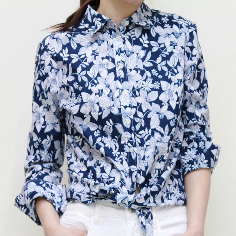 捺瑞思春新纯棉衬衫女春天花图案印花显气质通勤商务休闲长袖衬衫