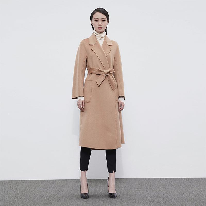 捺瑞思毛呢大衣女中长款双面呢水波纹羊毛大衣高端黑色2020年新款