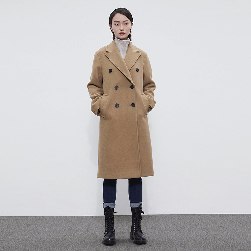 捺瑞思毛呢大衣女外套中长款羊毛羊绒显瘦加厚冬季100%高端纯色
