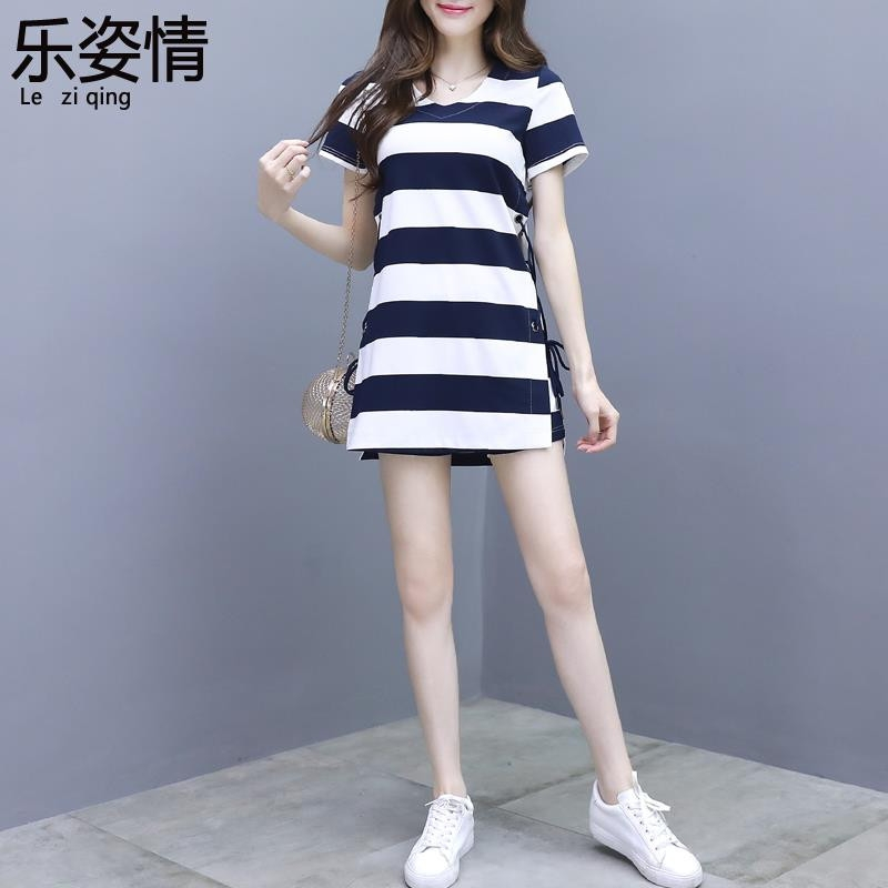 High end small dress suit womens summer 2020 new net red Hepburn style foreign style striped shorts