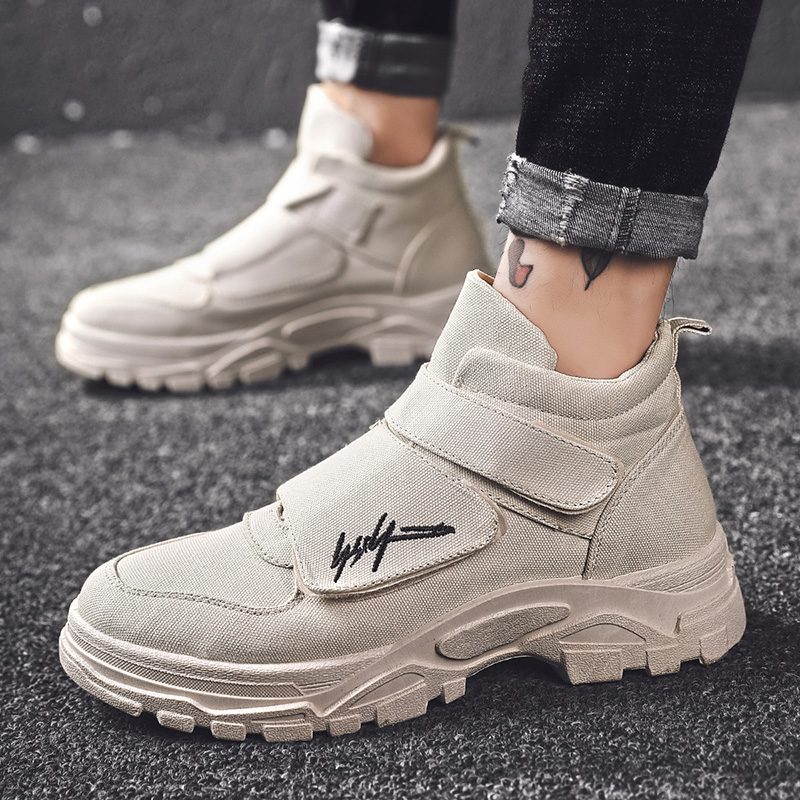 China work clothes Martin boots magic stick fashion shoes 2020 new spring trend mens shoes leisure high top canvas shoes