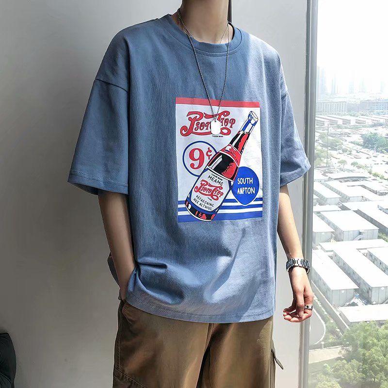 夏季新款男生短袖T恤港风宽松圆领上衣学生韩版五分袖百搭潮男t恤