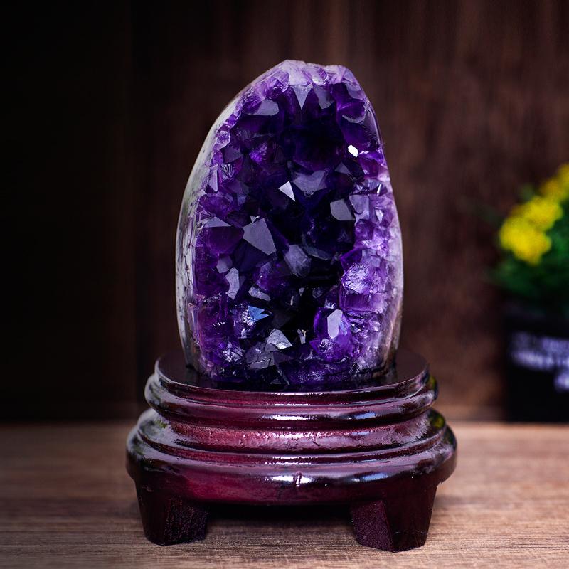 天然原石风水摆件紫水晶簇紫晶洞水晶球家居饰品客厅招财