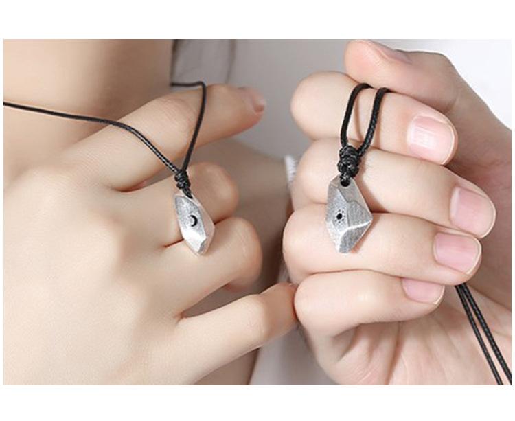 许愿石情侣项链个性创意纯银s925男女一对简约吊坠刻字礼物