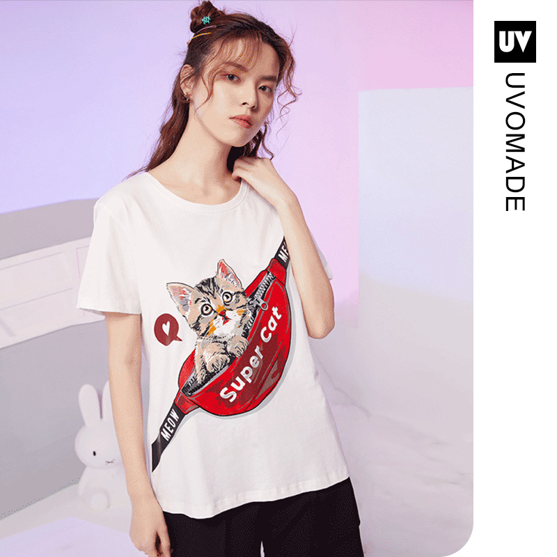 U. Vomade2020 spring / summer new ins short sleeve fashion. Womens short sleeve exquisite printed pocket cat loose T-shirt