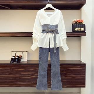 早秋款大码女装微胖妹妹时尚减龄显瘦套装时髦洋气牛仔裤两件套潮