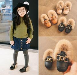 。2019冬季新款儿童皮鞋中小童加绒女童毛毛鞋女宝宝豆豆鞋男童棉