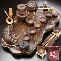 茶具套装紫砂陶瓷功夫实木茶盘家用泡茶台喝茶海托盘整套茶道茶杯