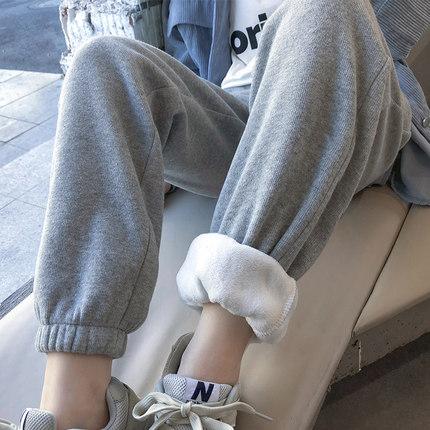 加绒灰色束脚运动裤女大码宽松显瘦秋冬加厚直筒高腰休闲学生卫裤