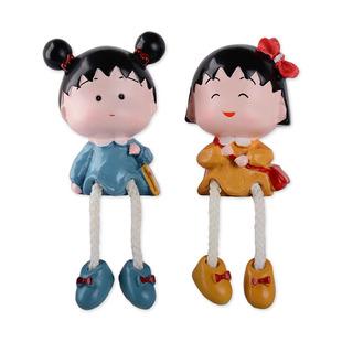 七夕小丸子樹脂吊腳娃娃家居客廳擺件裝飾品結婚禮物創意送女朋友