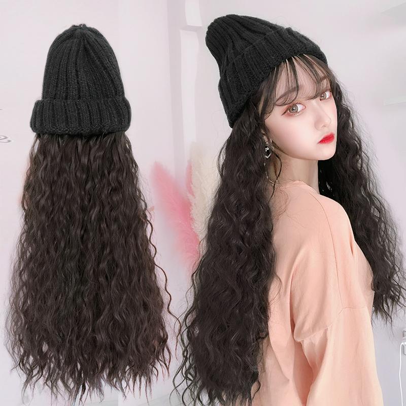假发女长卷发秋冬毛线针织帽子带假发一体女网红时尚羊毛卷全头套