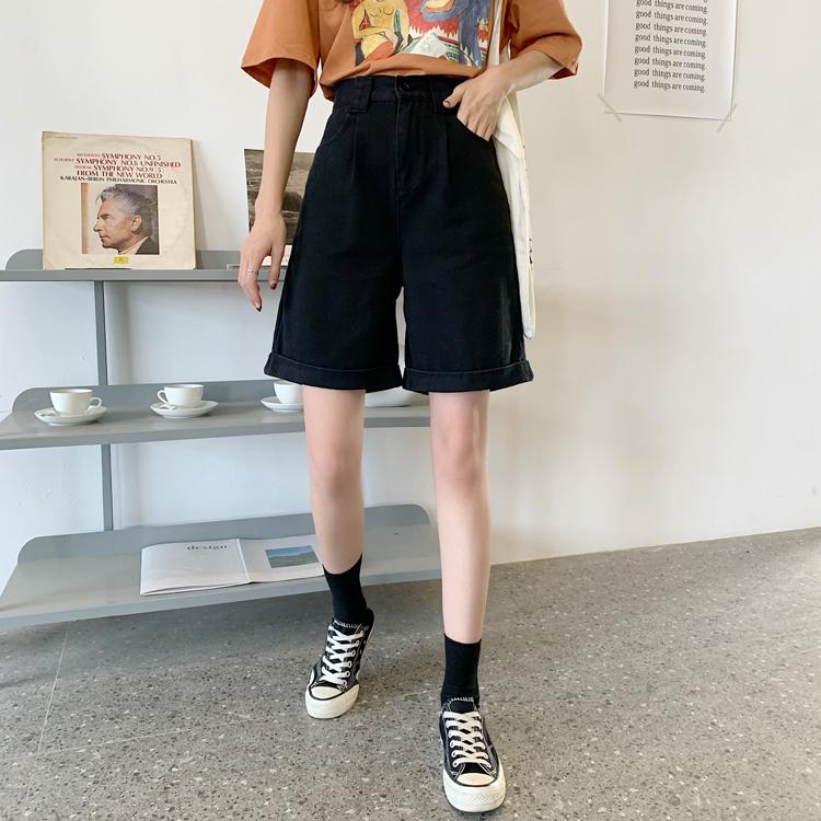 工装牛仔五分短裤女2020夏季大码胖mm韩版chic宽松直筒高腰阔腿裤