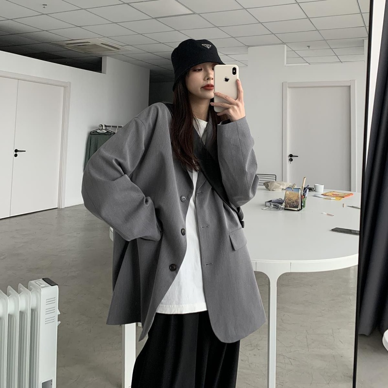 Small suit coat women spring and Autumn New Korean version student loose retro chic slim spring and autumn casual black suit