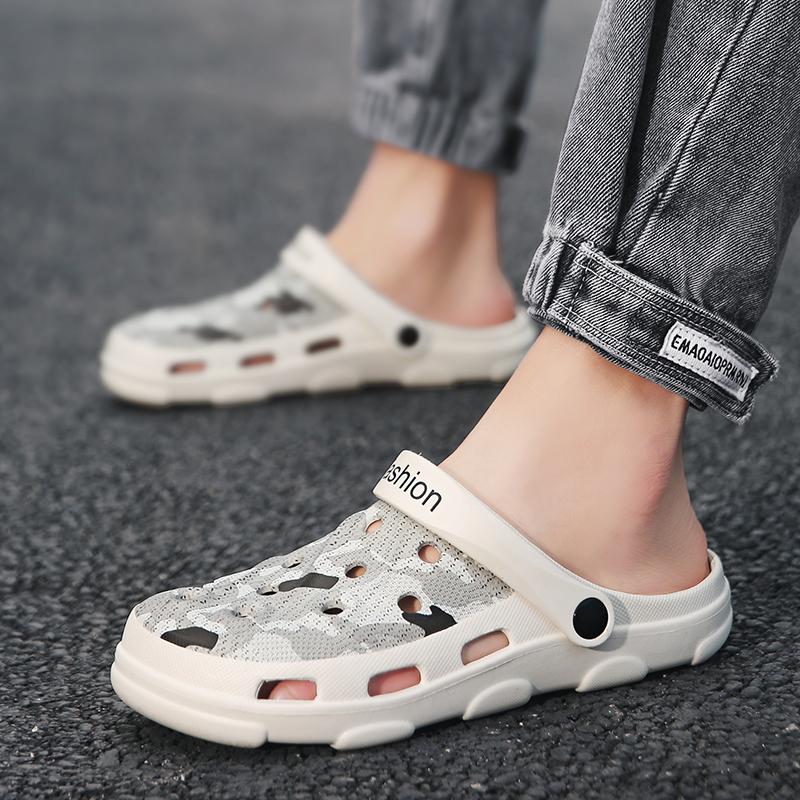 凉拖男2021新款夏季洞洞鞋潮外穿凉鞋包头镂空拖鞋防滑软底沙滩鞋