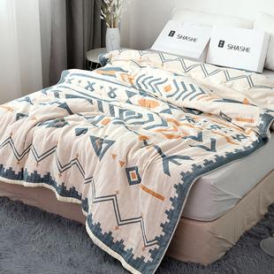 莎舍全棉毛巾被纯棉薄款夏季双人纱布被子四层夏天盖毯空调毯单人