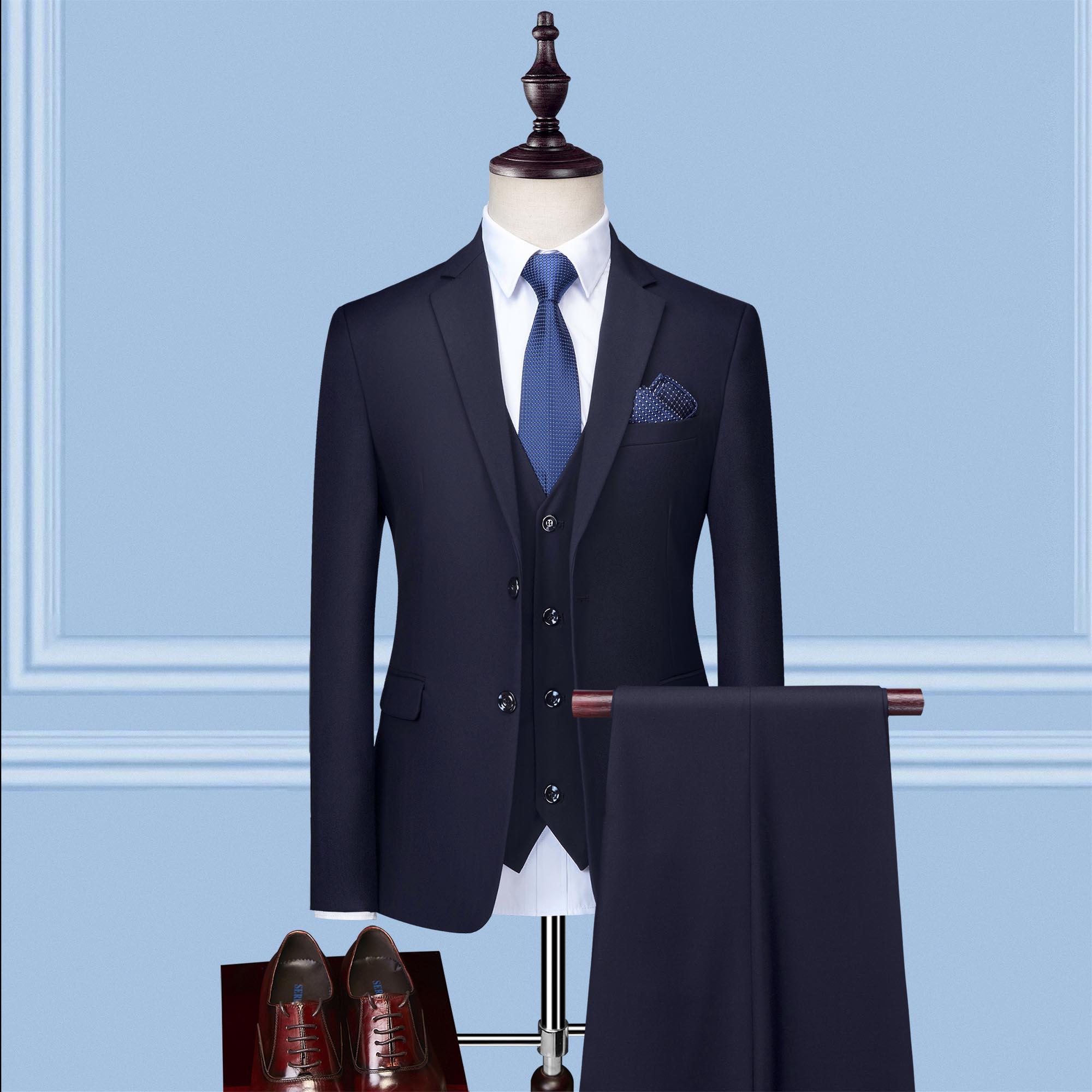 西服职业套装男士修身职业上班正装伴郎团新郎结婚礼服西装服装