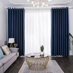 北欧全遮光亚麻窗帘卧室客厅落地窗