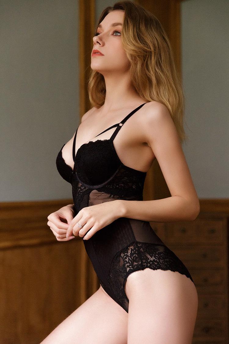 美体性感蕾丝透视塑身衣带胸罩一体式连体衣内衣内裤紧身文胸夏季