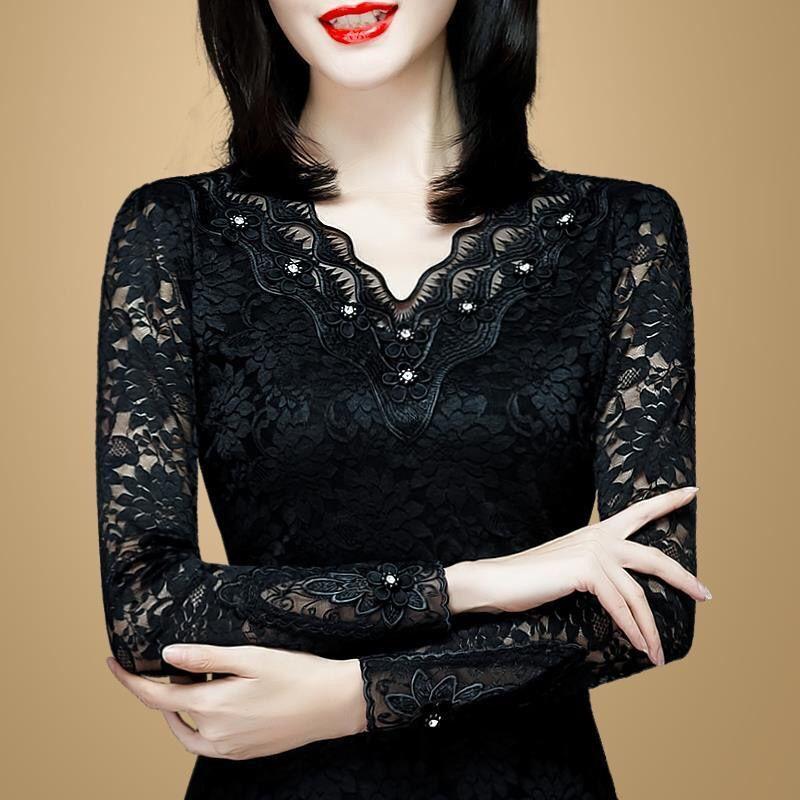 薄款/加绒修身v领长袖蕾丝打底衫女新款春秋季大码女装上衣小衫2