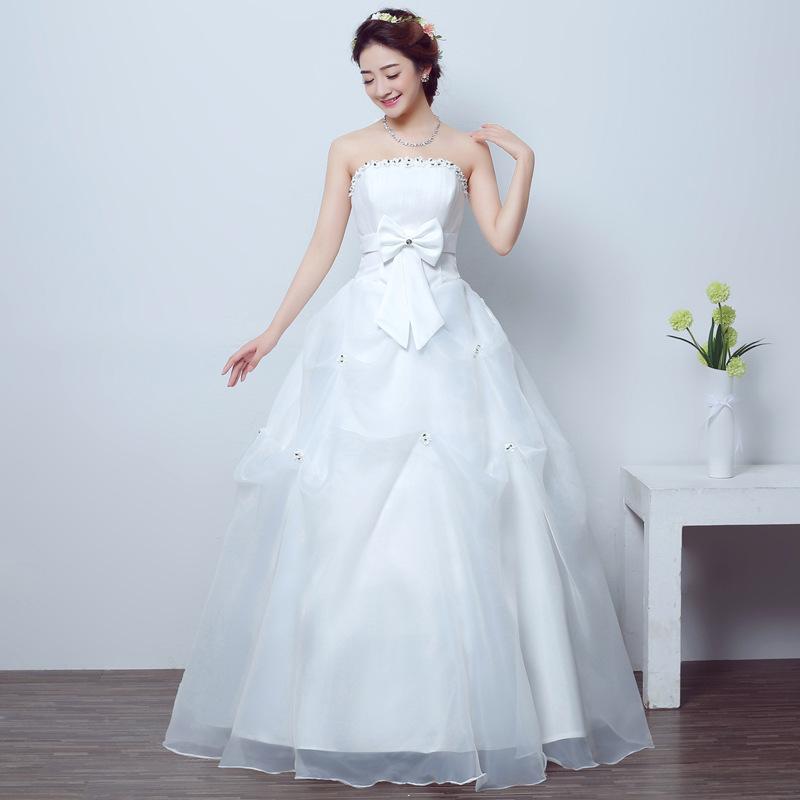2020新款婚纱礼服花朵白色齐地抹胸出门纱绑带公主抹胸显瘦X03