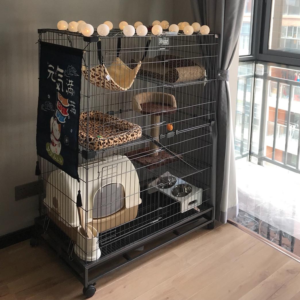 家用猫笼子 可折叠双层豪华猫别墅 大号三层二层猫房子