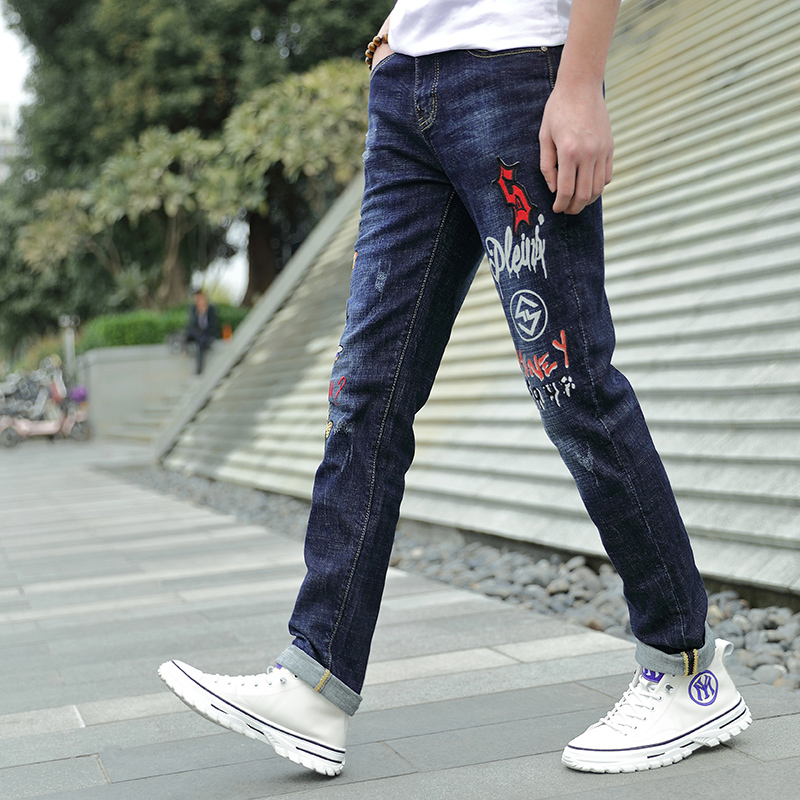 Think about new mens pants mens straight tube loose elastic pants casual versatile pants four season boys jeans