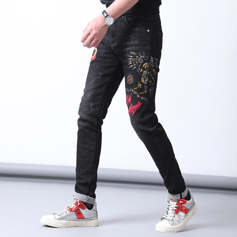 Think of new fashion jeans mens slim fit small straight leg elastic pants youth jeans casual trend pants