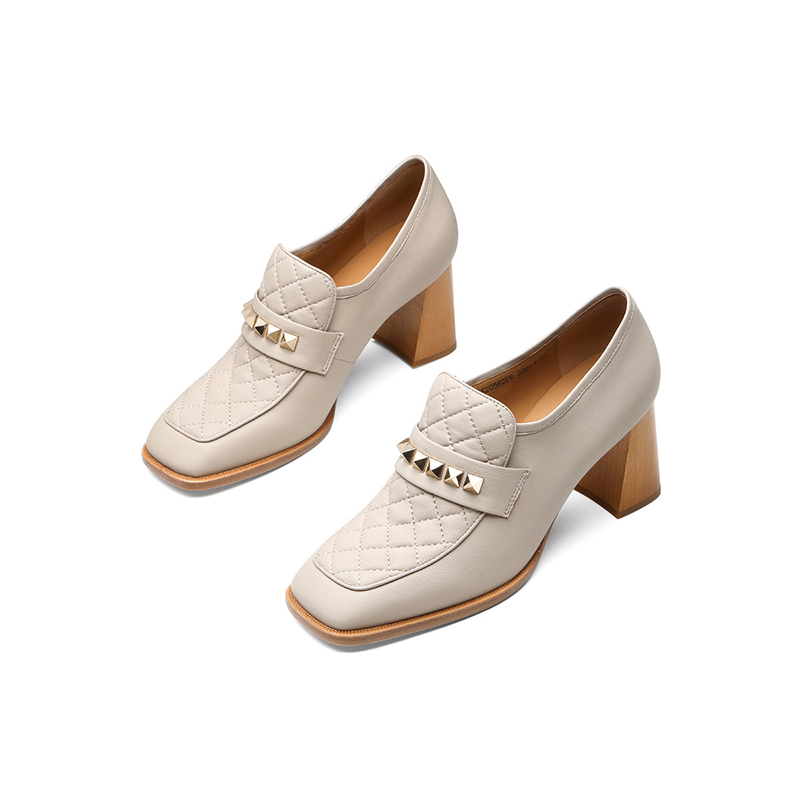 Jerryhallos new fall 2020 British style small grain sheepskin sleeve feet thick heel single shoes high heel womens shoes