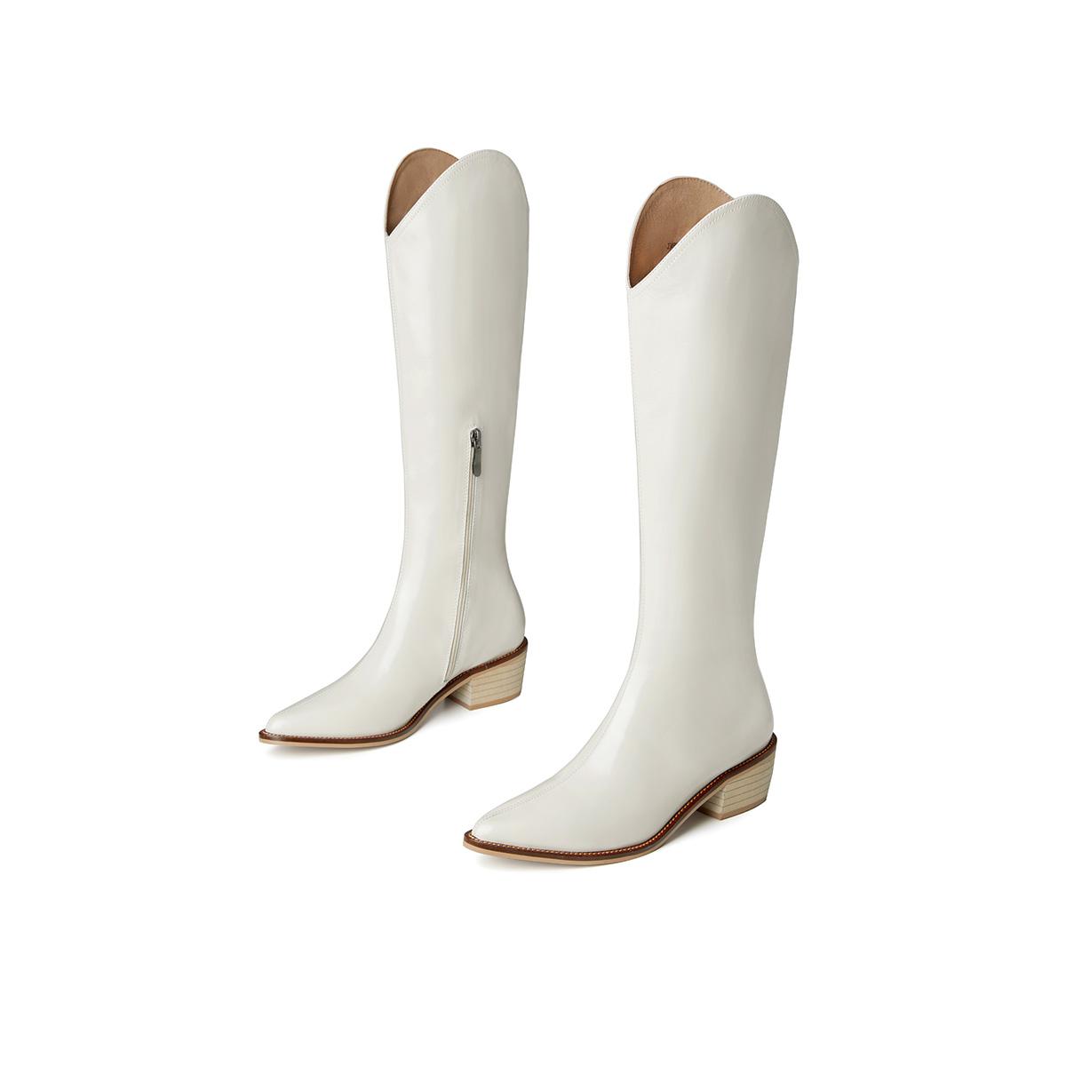 杰雷哈洛【高筒靴】2021秋冬新款牛油皮尖头拉链时尚女靴子骑士靴