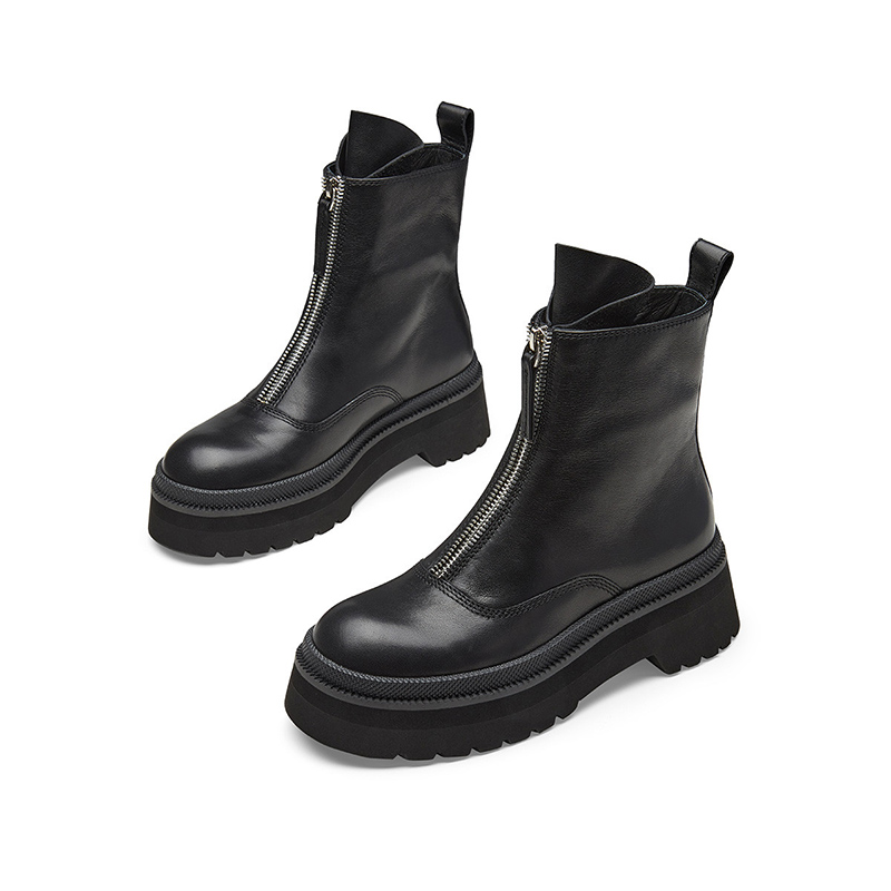 Jer Harlow workplace womens shoes autumn winter black short boots thick bottom front zipper Martin boots female j24ff05168pa