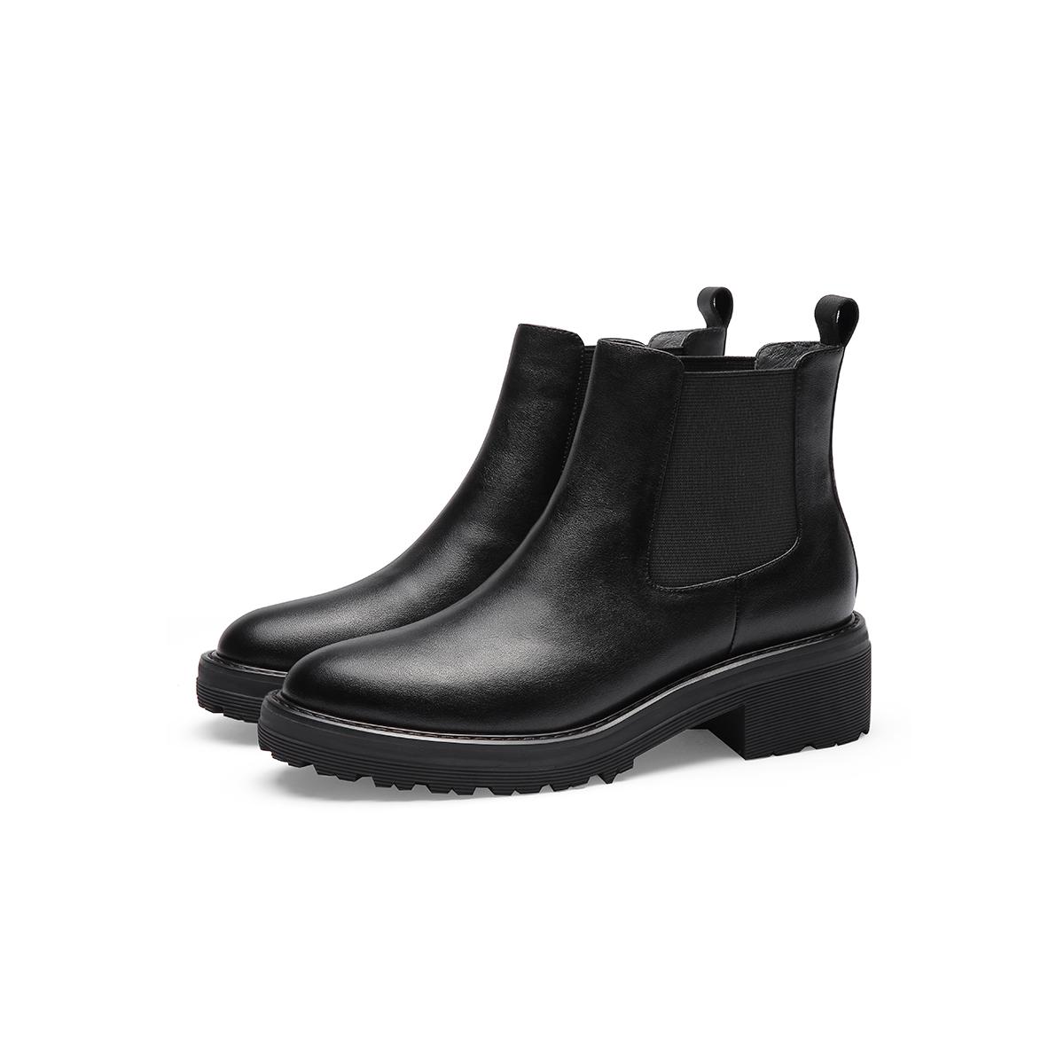 女靴冬新款牛皮切尔西靴方跟套脚女靴子