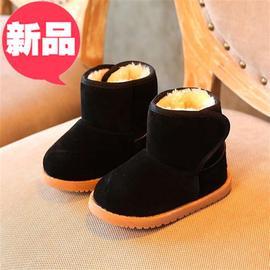 儿童雪地靴冬季加绒加厚棉鞋短靴男童牛筋底靴子女e童保暖鞋2-6岁