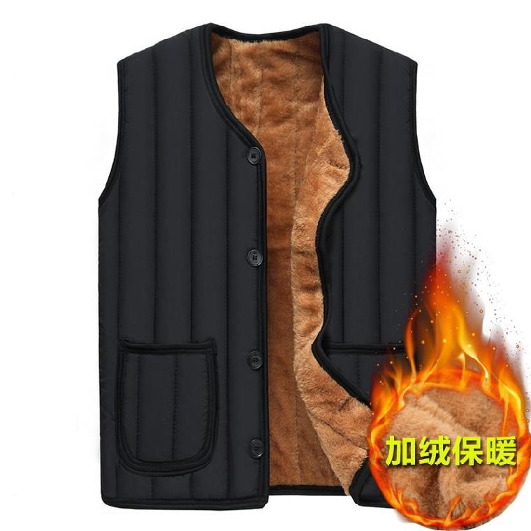 Fathers vest in winter with plush inside and large inside with cotton vest inside and jacket outside in winter for the elderly
