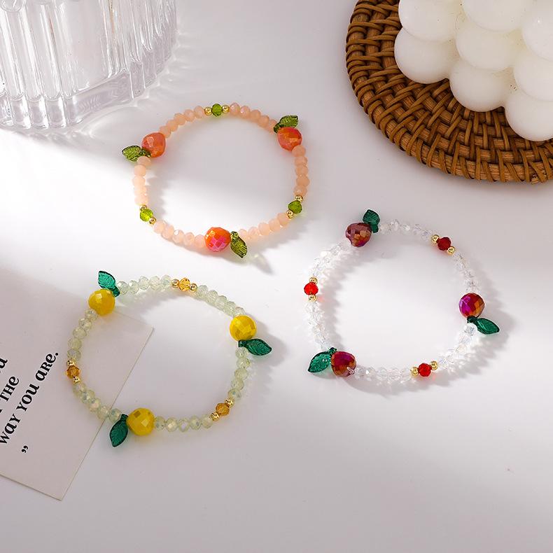 韩国春季新品可爱彩色水果串珠弹力绳手链少女水晶水果手链手镯女