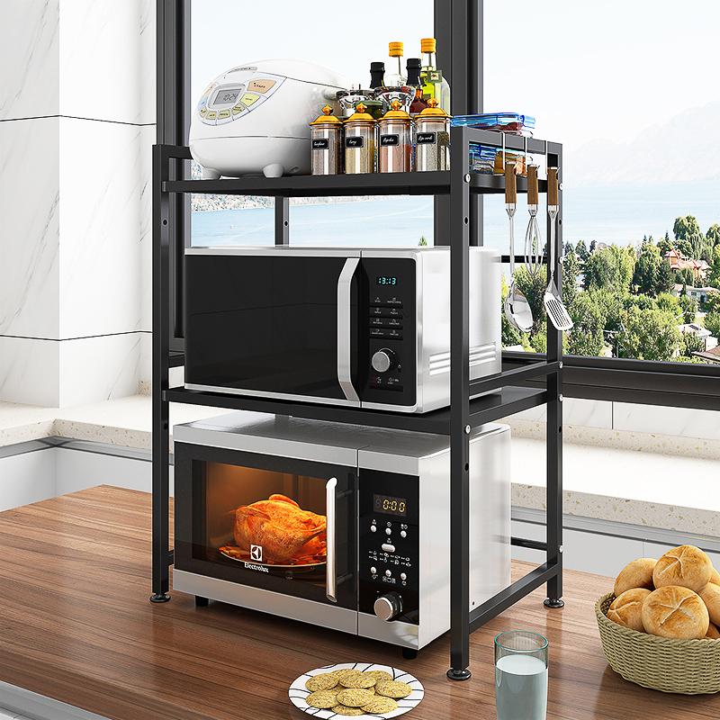 厨房微波炉置物架可伸缩家用双层台面桌面落地烤箱电饭煲收纳架子