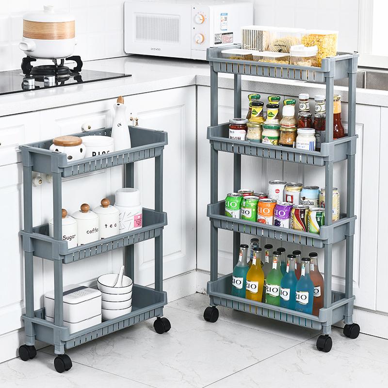 厨房置物架超窄落地多层移动小推车夹缝储物架浴室冰箱缝隙收纳架
