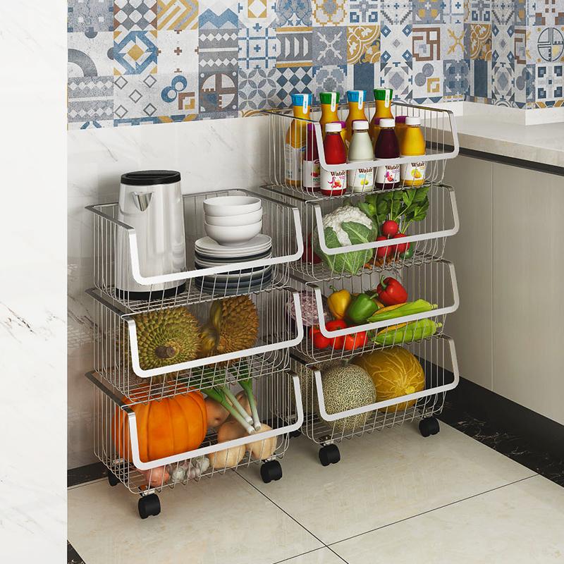 304不锈钢厨房置物架落地多层菜篮子家用蔬菜收纳筐厨房收纳菜架