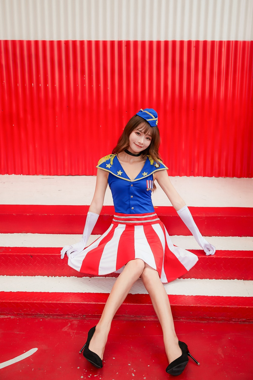 American sea singer Miss etiquette role-playing costume cheerleading stage costume Japanese barmaid