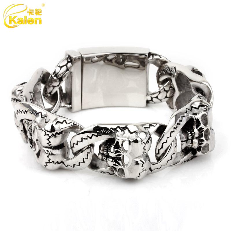 New style of Spink rock fashion creative bracelet jewelry titanium steel bracelet skull man