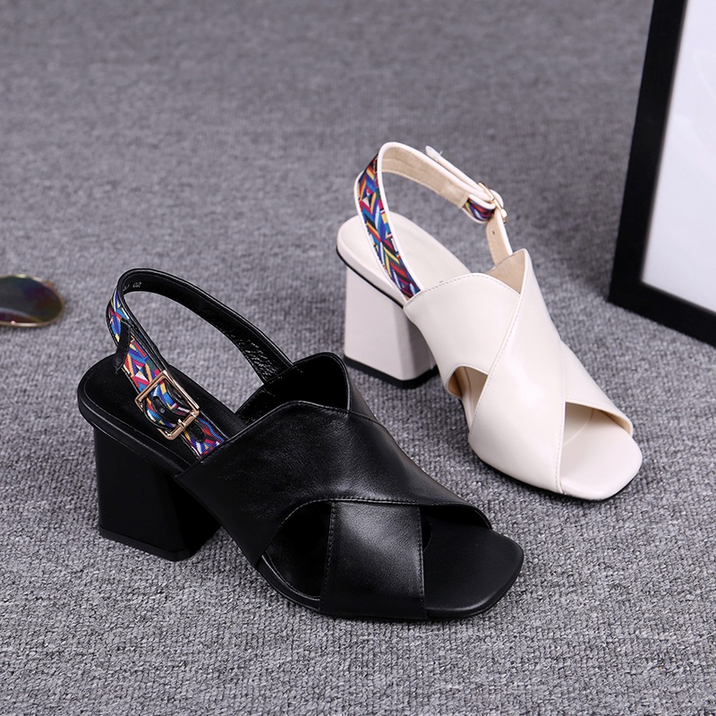 Thick heel fish mouth sandals womens summer high heels hollow out new 2021 white leather square head open toe breathable womens shoes