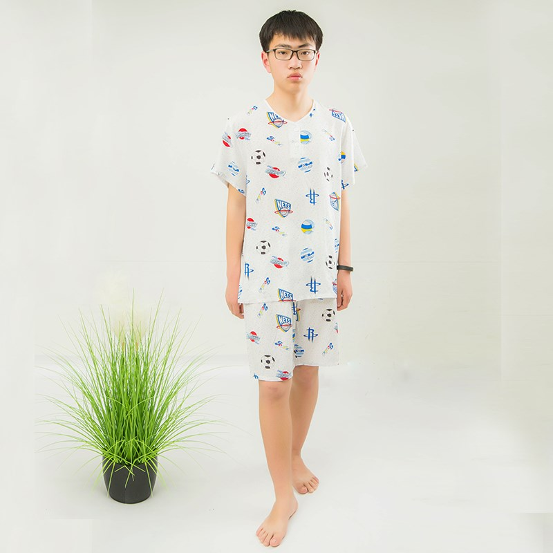 Childrens medium and large cotton silk loose pajamas, middle-aged and elderly summer mens short sleeve shorts, youth cotton suit home clothes