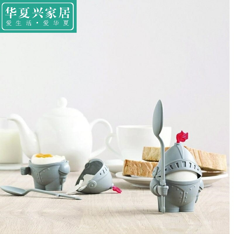 Knight Arthur egg holder with spoon soldier detachable egg tray Creative Cup small soldier egg holder childrens tableware