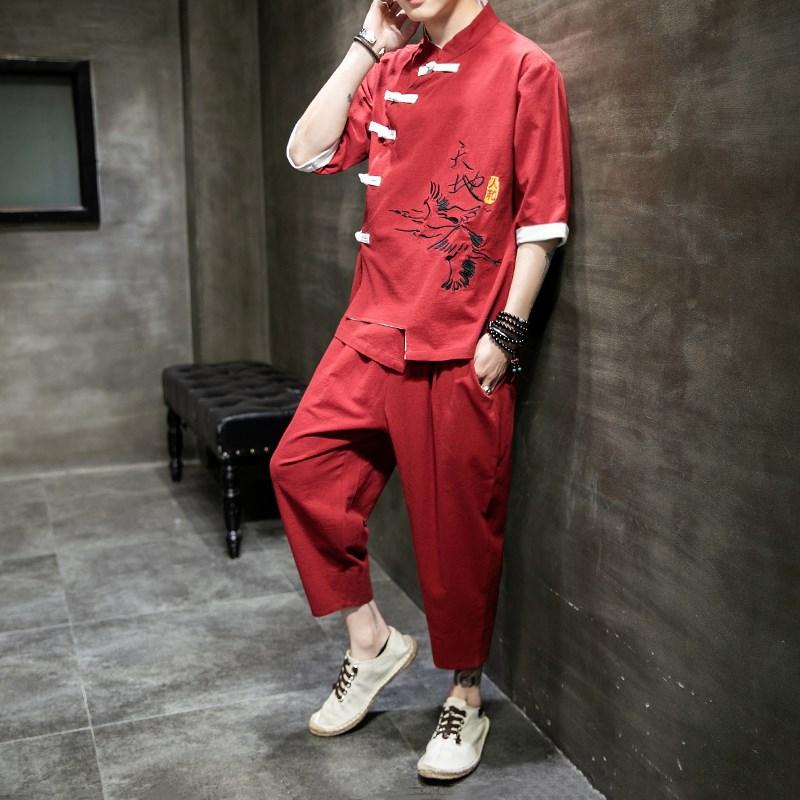 唐装亚麻套装中国风男装居士棉麻改良汉服复古装青年中式民族服装